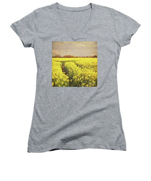 Yellow Field Women's V-Neck T-Shirt (Junior Cut) by Lyn Randle