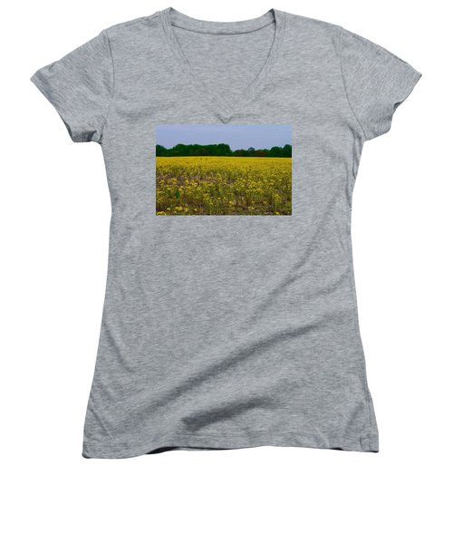 Yellow Field Women's V-Neck T-Shirt (Junior Cut) by Tim Good