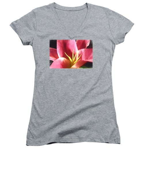 Yellow Fingers, Pink Blush Women's V-Neck T-Shirt