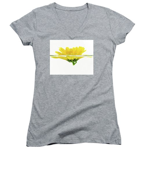 Yellow Flower Floating In Water Women's V-Neck