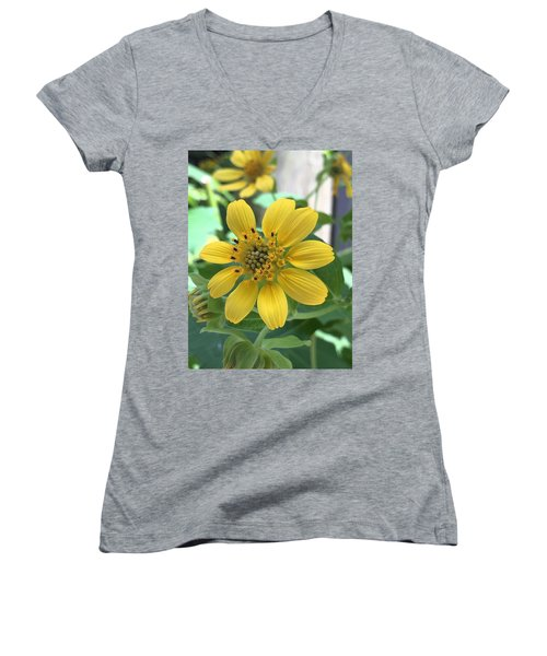 Yellow Flower Women's V-Neck T-Shirt (Junior Cut) by Kay Gilley