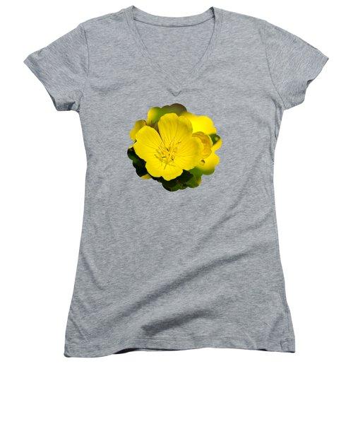 Yellow Flowers - Evening Primrose Women's V-Neck T-Shirt (Junior Cut) by Christina Rollo