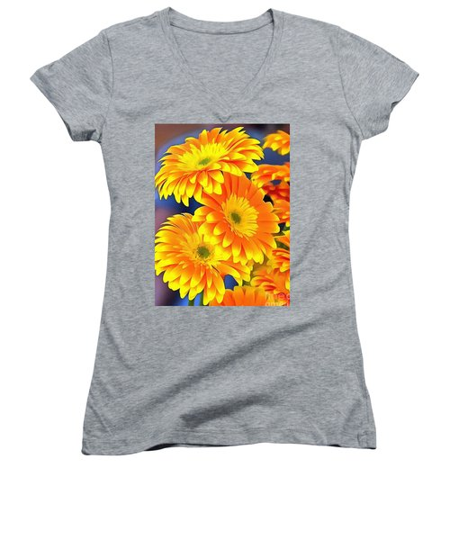 Yellow Flowers In Thick Paint Women's V-Neck