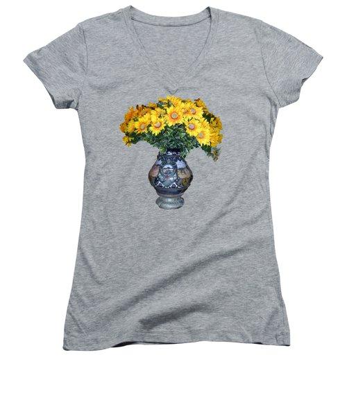 Yellow Flowers In Vase Women's V-Neck