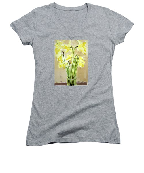 Yellow Flowers In Vase Women's V-Neck (Athletic Fit)