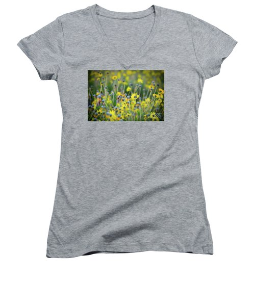 Yellow Flowers Women's V-Neck T-Shirt (Junior Cut) by Kelly Wade