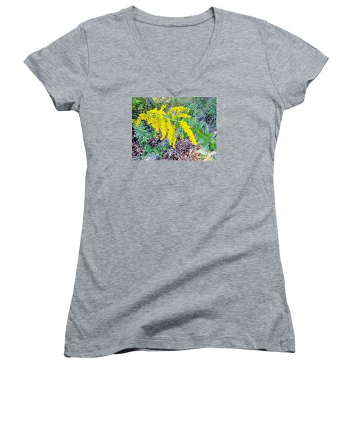 Yellow Flowers On Green Women's V-Neck (Athletic Fit)