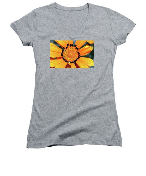Women's V-Neck T-Shirt featuring the photograph Yellow Gazania By Kaye Menner by Kaye Menner