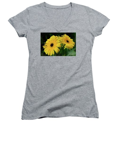 Women's V-Neck T-Shirt (Junior Cut) featuring the photograph Yellow Gerbera Daisies By Kaye Menner by Kaye Menner