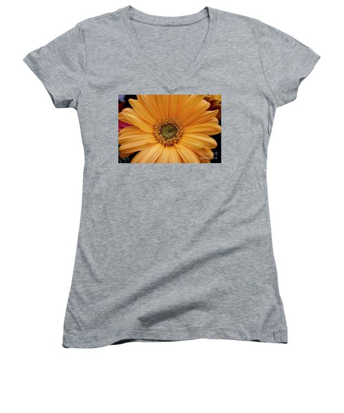Women's V-Neck T-Shirt (Junior Cut) featuring the photograph Yellow Gerbera Daisy by Ivete Basso Photography