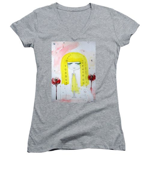 Yellow Hair Girl  Women's V-Neck (Athletic Fit)