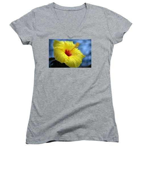 Women's V-Neck T-Shirt (Junior Cut) featuring the photograph Yellow Hibiscus by Debbie Karnes