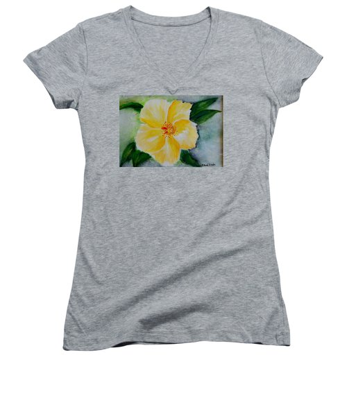 Yellow Hibiscus Women's V-Neck T-Shirt