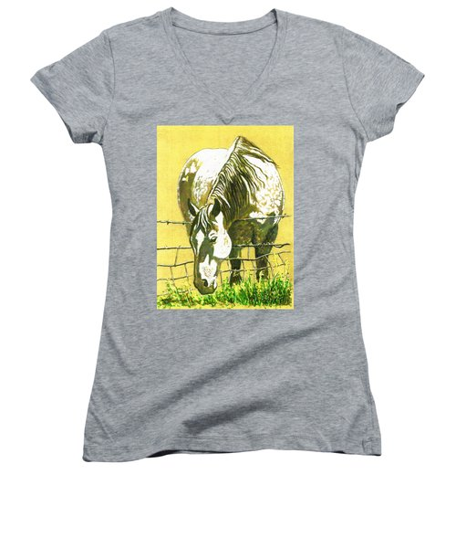 Yellow Horse Women's V-Neck (Athletic Fit)