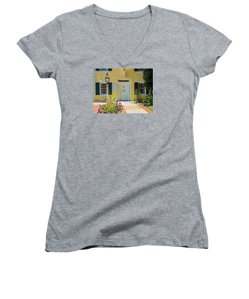 Women's V-Neck T-Shirt (Junior Cut) featuring the photograph Yellow House In Kingston by Nancy De Flon