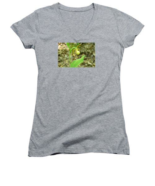 Women's V-Neck T-Shirt (Junior Cut) featuring the photograph Yellow Lady-slipper by Linda Geiger