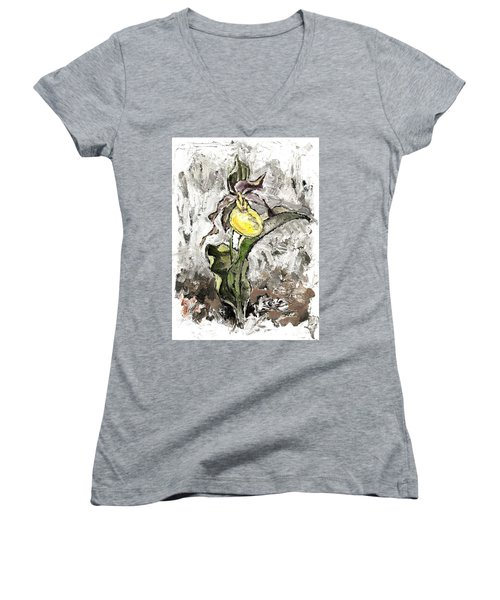 Yellow Lady's Slipper Women's V-Neck T-Shirt