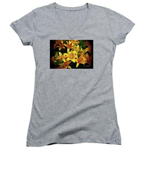 Women's V-Neck T-Shirt (Junior Cut) featuring the photograph Yellow Lilies by Joann Copeland-Paul