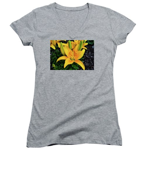 Women's V-Neck T-Shirt (Junior Cut) featuring the photograph Yellow Lily 008 by George Bostian