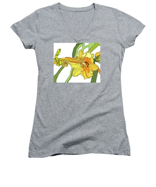 Yellow Lily And Bud, Graphic Women's V-Neck T-Shirt (Junior Cut) by Jamie Downs
