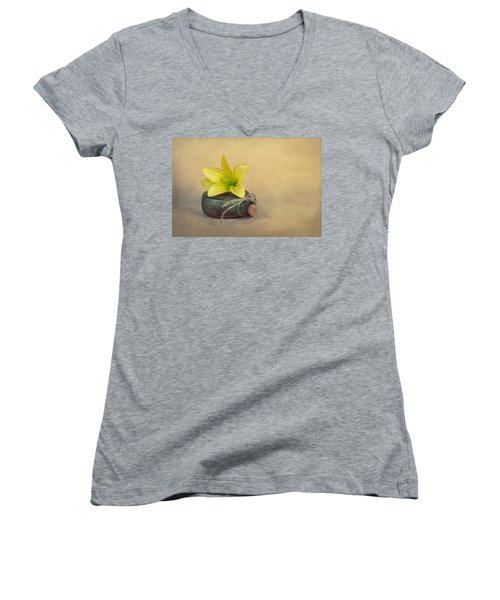 Women's V-Neck T-Shirt (Junior Cut) featuring the photograph Yellow Lily And Green Bottle by Tom Mc Nemar