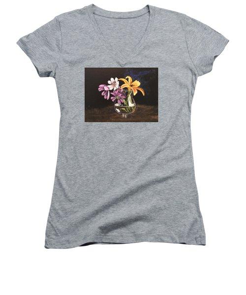 Yellow Lily Women's V-Neck T-Shirt (Junior Cut) by Sharon Schultz