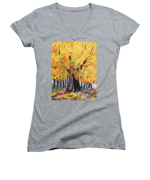 Women's V-Neck T-Shirt (Junior Cut) featuring the painting Yellow Maple Wet Trunk by John Williams