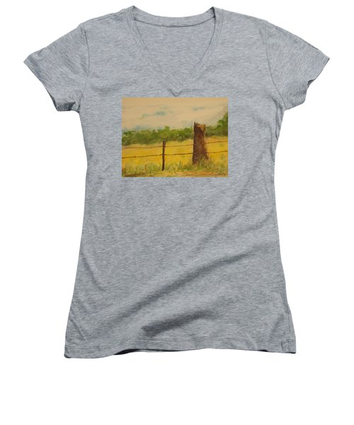 Women's V-Neck T-Shirt (Junior Cut) featuring the painting Yellow Meadow  by Vicki  Housel