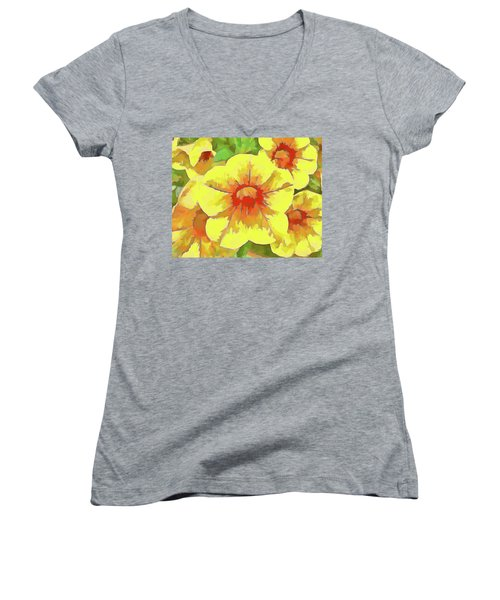 Yellow Million Bells Women's V-Neck (Athletic Fit)