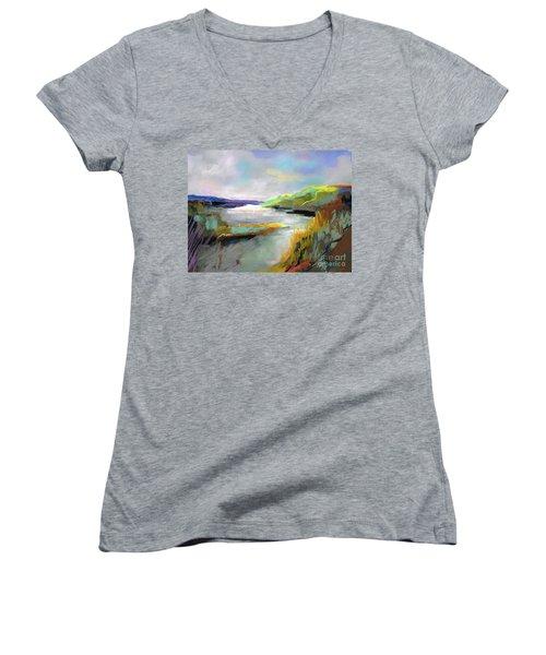 Yellow Mountain Women's V-Neck T-Shirt (Junior Cut) by Frances Marino