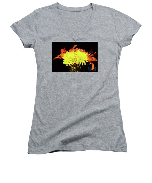 Yellow Mums And Orange Lilies  Women's V-Neck