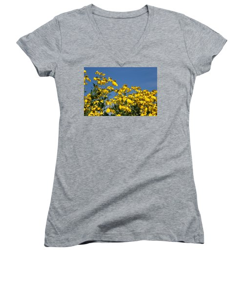 Women's V-Neck T-Shirt (Junior Cut) featuring the photograph Yellow On Blue by Lois Lepisto