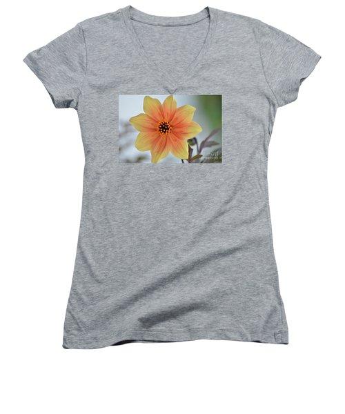 Yellow Orange Dahlia Perfection Women's V-Neck T-Shirt