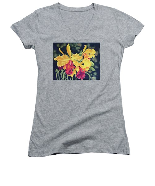 Yellow Orchids Women's V-Neck