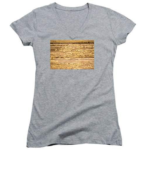Women's V-Neck T-Shirt (Junior Cut) featuring the photograph Yellow Painted Aged Wood by John Williams