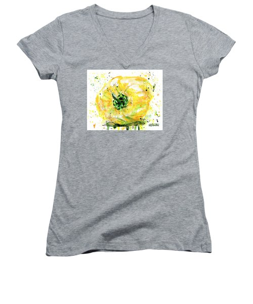 Yellow Pepper Women's V-Neck T-Shirt (Junior Cut) by Arleana Holtzmann