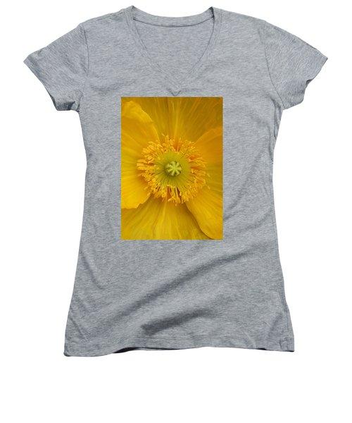 Yellow Poppy Flower Center Women's V-Neck