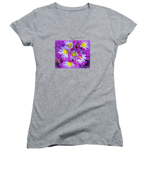 Women's V-Neck T-Shirt (Junior Cut) featuring the photograph Yellow Purple And White by AJ  Schibig