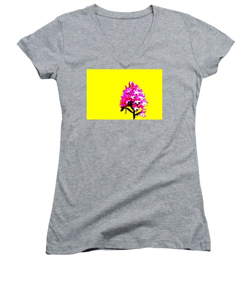 Yellow Pyramid Orchid Women's V-Neck T-Shirt