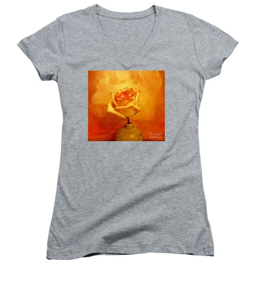 Women's V-Neck T-Shirt (Junior Cut) featuring the photograph Yellow Red Orange Tipped Rose by Marsha Heiken