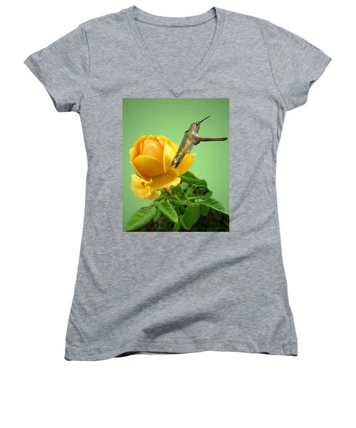 Yellow Rose And Hummingbird 2 Women's V-Neck T-Shirt (Junior Cut) by Joyce Dickens