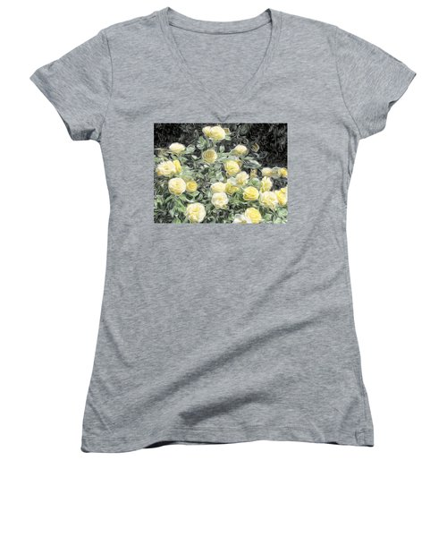 Yellow Roses Women's V-Neck T-Shirt (Junior Cut)
