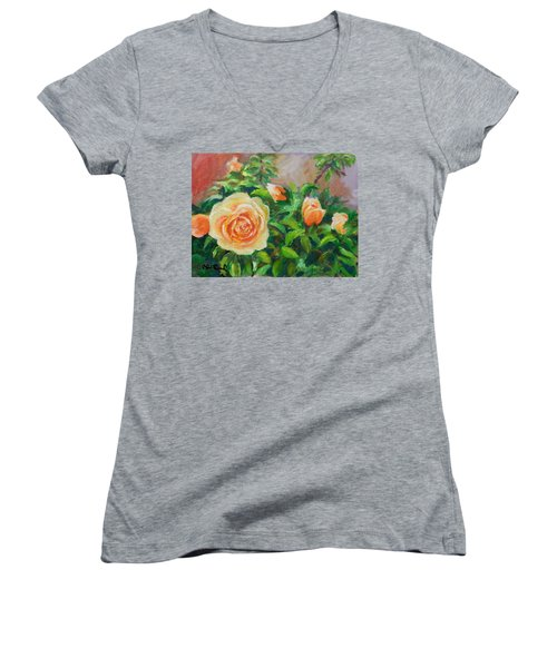 Yellow Roses Women's V-Neck T-Shirt (Junior Cut) by William Reed