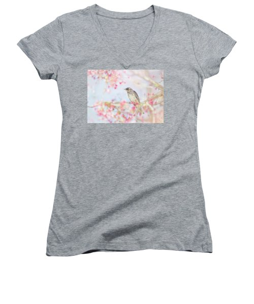 Yellow-rumped Warbler In Spring Blossoms Women's V-Neck (Athletic Fit)