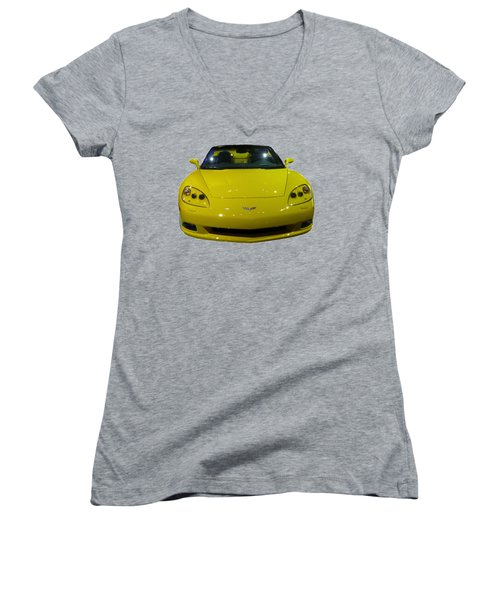 Yellow Sports Car Front Women's V-Neck