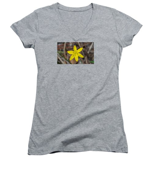 Yellow Star Grass Flower Women's V-Neck (Athletic Fit)