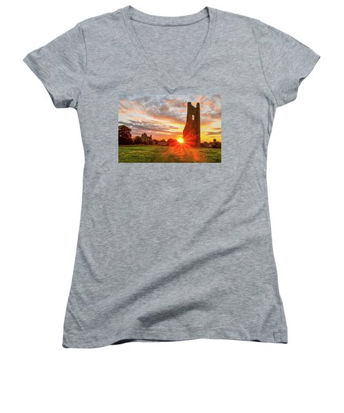 Yellow Steeple Star Women's V-Neck (Athletic Fit)