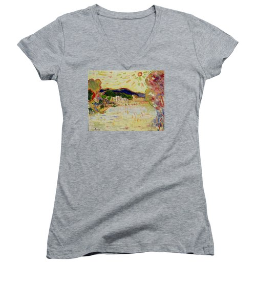 Beynac Et Cazenac , Dordogne , Yellow Sunshine  Women's V-Neck T-Shirt