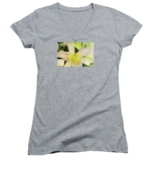 Yellow Tan Lily 1 Women's V-Neck (Athletic Fit)
