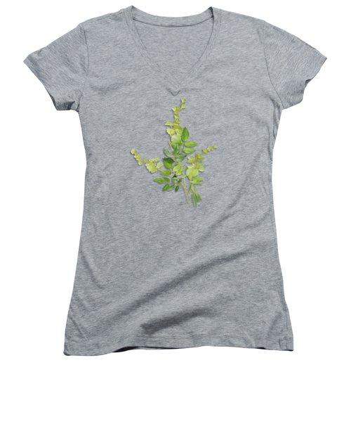 Yellow Tiny Flowers Women's V-Neck T-Shirt